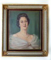 19th c. Oil Painting Portrait, Victorian Aristocrat, in Antique Gilt Frame,20x24