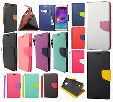 Samsung Galaxy Note 4 Premium Leather 2 Tone Wallet Case Pouch Flip Phone Cover