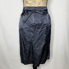 Eileen Fisher Pencil Skirt 10 Gray Black Metallic Tie Waist