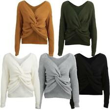 Women's Long Sleeve Cardigan Bow Cross Knitted Sweater Jumper Outwear Coat Q4L3