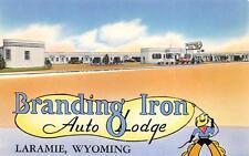 Branding Iron Auto Lodge Laramie, WY Lincoln Highway Roadside Postcard ca 1950s