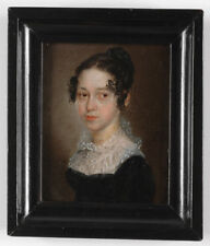 """""""Portrait of a Young Lady"""", German Oil Miniature, ca.1815"""