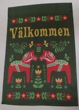 Scandinavian Swedish Valkommen Dala Horses - Decorative Garden Flag