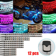 12pcs Motorcycle Light Strip Multi-Color RGB Flexible Remote Kit Car ATV 5050