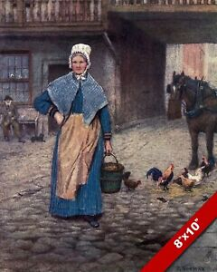EARLY 1900'S WOMAN CARRYING BUCKET LONDON OLD ENGLAND ART CANVAS PAINTING PRINT