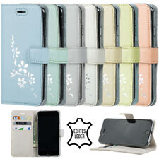 Für Xiaomi - Echte Ledertasche Klapp/Schutz Hülle Futteral Cover - Blumen Motiv