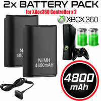 2x Battery Pack + Charger Cable For Microsoft Xbox 360 Wireless Controller Black