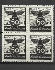 7026C-BLOQUE 4 SELLOS VIÑETA 1939 ESPAÑA GUERRA CIVIL AUXILIO DE INVIERNO BENEFI