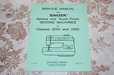 Service Manual on CD for Singer Athena & Touch-Tronic 2000 2005 Sewing Machines