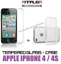 CUSTODIA COVER + PELLICOLA VETRO TEMPERATO APPLE IPHONE 4 4s CASE TEMPERED GLASS
