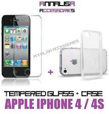 KIT COVER + PELLICOLA VETRO TEMPERATO x APPLE IPHONE 4 4s CUSTODIA CASE + GLASS