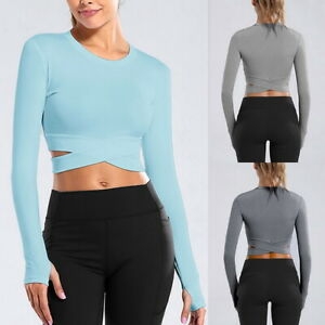 Women Sport Yoga Crop Top Long Sleeve Gym Tops Fitness Running Workout T-Shirts
