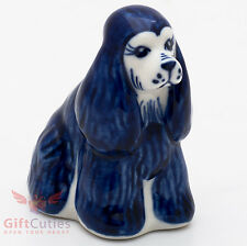 Gzhel Porcelain Spaniel Dog Figurine handmade symbol of 2018 New Year