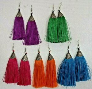Long Silky Tassel Earrings , Assorted Colours, For Pierced Ears