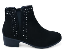 Ladies Black Ankle Boots Block Elasticated Chelsea Pull On Shoes New Sizes 3-8