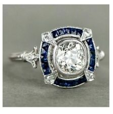 Art Deco 2.20ct Blue Sapphire Engagement Wedding Vintage Filigree Ring 925Silver