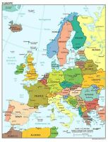 Iconic Arts Laminated 24x31 Poster: Political Map - Map of Europe 2012
