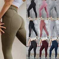 Women High Waist Yoga Pants With Pockets Push Up Fitness Gym Leggings Stretch US