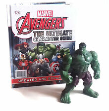 "Marvel Superheroes AVENGERS GUIDE BOOK plus 5"" tall hulk figure toy gift set"