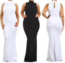 Women Plus Turtleneck Sleeveless Bodycon Mermaid Maxi Dress Evening Long Gown