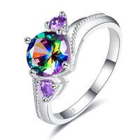 Engagement Jewelry Gift Rainbow White Black Topaz Amethyst Gemstone Silver Ring