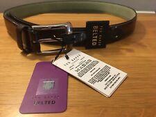TED BAKER LONDON JOLLENT BROWN 100/% LEATHER BUCKLE BELT BNWT RRP £35.00 UK 36