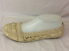 Predictions Beige Floral Crochet Lace Slip On Ballet Flat Womens 7 M Shoe Casual