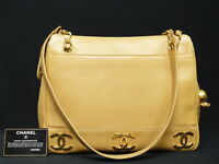 CHANEL CC Chain Tan Caviar Leather Tote Shoulder Hand Bag $4500 Auth. Vintage