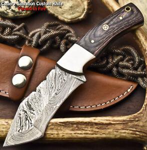 Rare Hand Made Damascus Steel Blade Full Tang Hunting Knife | HARD WOOD