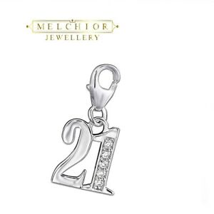 Sterling Silver Number TWENTYONE 21st Birthday Charm With Gemstones Gift Boxed
