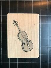 String Musical Instrument Series M34213 Wood Mounted Violin Rubber Stamp