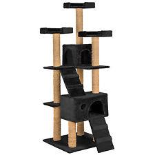 Arbre à chat griffoir grattoir jouet geant 2 grottes 169cm pour chats noir