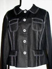 "Style & Co Black Linen Jacket White Trim Graphic B/W Lining 16P 42"" Chest"