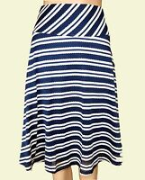 New Ex Per Una M&S Ladies Navy & Cream Striped A line Summer Skirt Size 12 - 22