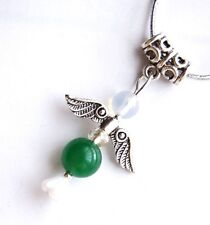 Chrysoprase Crystal Guardian Angel Pendant on Silver Cord - Emotional Stability