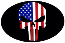 Wholesale Lot of 6 USA American Flag Skull Black Oval Decal Bumper Sticker