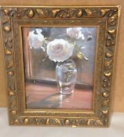 Ian McLaughlin Floral Litho Framed ART Print Lithograph Wood Ornate frame