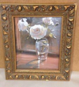 Ian McLaughlin Floral Litho Framed ART Print Lithograph Wood Ornate frame
