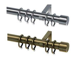 19mm Diameter Extendable Metal Curtain Pole Chrome Antique Brass Riga Finial