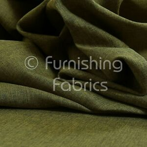 10 Metres Of Upholstery Fabric Plain Soft Linen Woven Look Modern Chenille Green