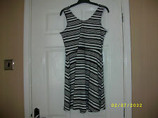 Ladies Black and White Sleeveless Dress Size 10 from Atmosphere