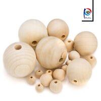 300 Natur Holz Perlen Rund Mix 8/10/12/14/16/20mm Schmuck Basteln Buche Holz