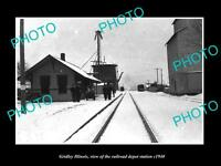 OLD LARGE HISTORIC PHOTO OF GRIDLEY ILLINOIS, THE RAILROAD DEPOT STATION c1940