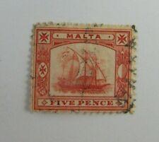 1899 Malta  SC #16  Wmk 2  Ship  Five Pence Used stamp