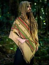 Handmade Desert Sand Brown Cashmere Wool Poncho with Hood, Earthy Tribal Pattern