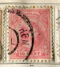 NETHERLANDS;  1891 early classic Wilhelmina issue used 10c. value