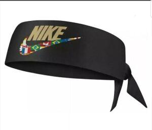 Nike Printed Black/Gold/Flag Dri-Fit Head Tie Sweat Wicking Headband One Size