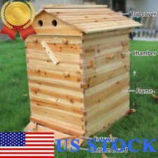 Beehive House 2-Layer Super Brood Beekeeping Bee Hive Box For 7Pcs Frames Us