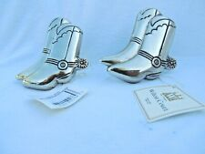 New listing Nwt Wilton Court Cowboy Boots With Spurs Silverplate Set of 7 Napkin Rings Metal