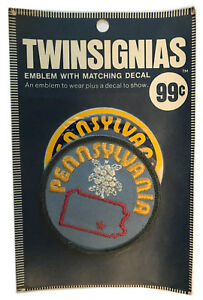"""1970'S PENNSYLVANIA USA SOUVENIR 3"""" PATCH WITH DECAL TWINSIGNIAS IN PACKAGE"""